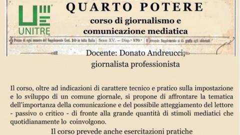 """Unitre Osimo: un nuovo corso per l'Anno Accademico 2019/2020. Da giovedì 12  dicembre """"Quarto Potere"""" lezioni di giornalismo e comunicazione mediatica"""
